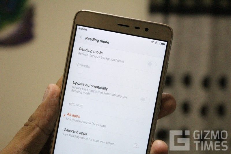 Xiaomi Redmi Note 3 Режим чтения